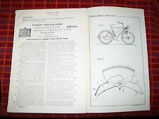CYCLE OR MOTORCYCLE LAMP PATENT. KOHNS, LUXEMBOURG. 1937