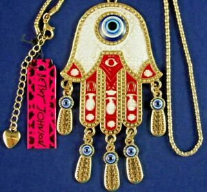 "2-Sided *HUGE* 4.5"" NWT BETSEY JOHNSON EVIL EYE PALM/ HAND DANGLE CHARM NECKLACE"
