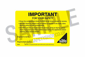 Gas Safe Vent Important for your Safety Labels