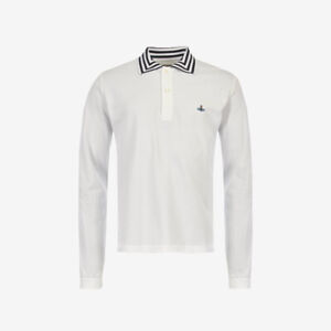Vivienne Westwood Orb Logo Long Sleeve Polo - White - WAS £165, NOW £110!