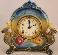 Antique 1900 ANSONIA La Charny Royal Bonn Porcelain Ceramic Mantel Shelf Clock