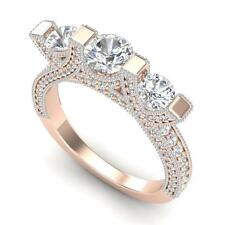 2.3 CTW VS/SI Diamond Solitaire Micro Pave 3 Stone Ring Band 18K Go... Lot 90046