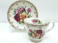 Royal Castle TEACUP & SAUCER Pink Mauve & Yellow Roses Fine Bone China England