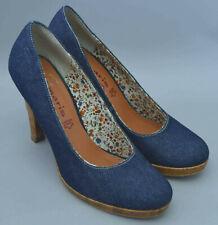 Ladies Tamaris Blue Denim Style Shoes With Cork Platform & Heel Size Uk 7