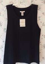 Covington Ladies XL Black Knit Sleeveless Sweater Top NWT Cute!