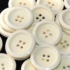 Mercerie lot de 5 boutons blanc crème 26mm button
