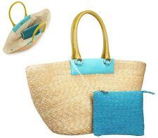 Furla L Straw Tote & Clutch Bag Handbag Shopper Natural Turquoise Blue Lime New