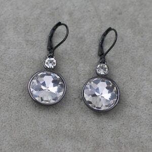 joan rivers signed jewelry black tone cut crystal glass beads hoop drop earrings