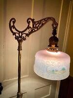 Antique Vintage Bridge Floor Lamp Hand Painted Original Puffy Shade