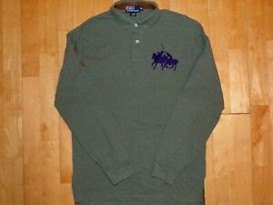 Polo by Ralph Lauren Green TEAM PONIES w Brown Number Medium M Long Sleeve Shirt