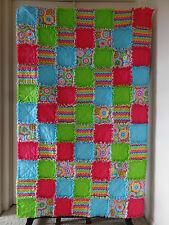 "Rainbow Stripes & Flower Flannel Rag Quilt 41""x65"" Pink Light Blue Lime"