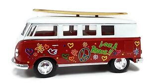 Kinsmart Volkswagen Classical Bus 1962 Surfboard 1:32 Diecast Model Toy Bus Red