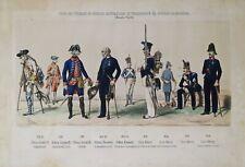 """LITOGRAFIA Lithographie Lithography Colorata """"Guarnigione di Sardegna"""" metà 1800"""