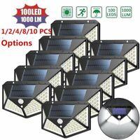 Mpow 100 LED Solar PIR Motion Sensor Wall Light Outdoor Garden Yard Flood Lamp