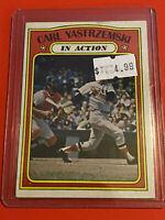 VINTAGE 1972 Topps Baseball Card Set #38 HOF RED SOX CARL YASTREMSKI IN ACTION