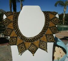 "NEW beaded necklace collar 15"" black gold"