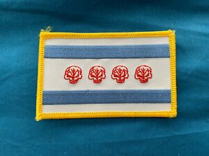"""Chicago Flag Skull Patch Approx 3.5"""" x 2.25"""" New"""