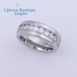 CZ Micro Paved Wedding Engagement Men's Stainless Steel Ring Band Size:8-13 #GG