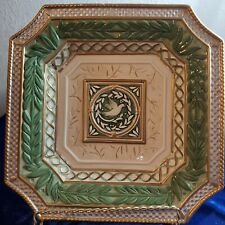 Fitz & Floyd Square Ceramic Plate Dish - Green with White Dove (Jj11)