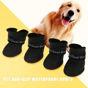 UK 4Pcs Anti-Slip Pet Boots Dog Waterproof Shoes Protective Rain Booties Sock
