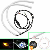 "23"" Vehicle Flexible Turn Signal LED HeadLight  DRL White/Yellow Strip Tube 2PCS"
