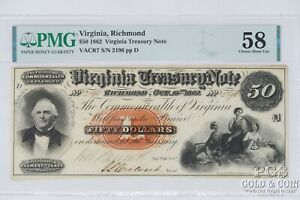 1862 $50 Confederate States VACR7 Treasury Note PMG Choice 58 About New 21391