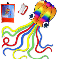 HONBO 14ft R2F Rainbow Soft Octopus Kite for Kids and Audlts---Large Kite with