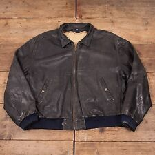 "Mens Vintage Levis Black Tab Lined Leather Bomber Jacket Black XL 50"" R5102"