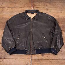 """Mens Vintage Levis Black Tab Lined Leather Bomber Jacket Black XL 50"""" R5102"""