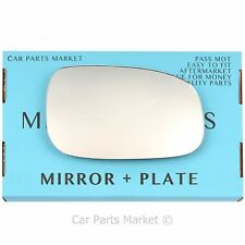 Right Driver side Flat Wing door mirror glass for Volvo c30 2006-2009 +plate