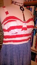 CMH American Flag Red White Denim Sleeveless Mini Dress Sz L Large PD004