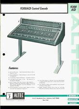 Altec Lansing 9300ACD Pro Studio Mixing Control Console Rare Dealer Brochure