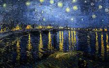 Grande STAMPA INCORNICIATA-Vincent Van Gogh Le barche sull' acqua replica (FOTO PITTURA)