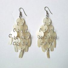 EAST JEWELLERY Ivory Shell Chandelier Boho Holiday Drop Pierced Earrings