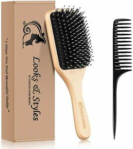 Hair Brush, Boar Bristle Paddle Hairbrush for Long, Thick, Curly, Wavy, Dry or D