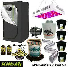 LED Grow Light Grow Tent Kit Complete Fan Kit Coco Hydroponics set 1.2 600w