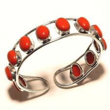 Alluring Silver Plated Coral Cuff Bracelet Bangel Gemstone Jewelry