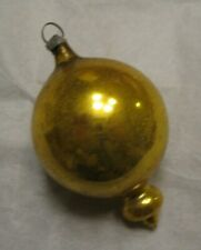 Antique Vint 1900's German Feather Tree Mercury Glass Gold Balloon Ornament ~ #2