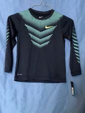 New Boy's Nike Dri-Fit Shirt Long Sleeve Blue MSRP $28