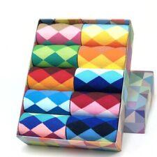 5PCS Mens Womens Socks Diamond Pattern Casual Cotton Nylon Spandex M XL Dress