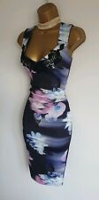 Lipsy super sexy pencil bodycon dress embroidered purple blue floral ruched 6