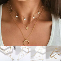 Fashion Multilayer Choker Necklace Star Moon Chain Crystal Women Summer Jewelry
