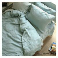 Stone Washed 100% Natural Linen Grey Green Bedding Duvet Cover Pillowcase Sheet