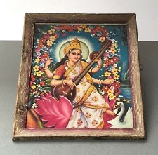 VINTAGE INDIAN FRAMED PRINT OF SARASWATI. ORIGINAL ART DECO FRAME.  RAJASTHAN.