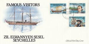 (89356) Seychelles FDC Famous Visitors 1985