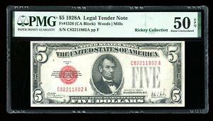 DBR 1928-A $5 Legal Fr. 1526 CA Block PMG AU-50 EPQ Serial C82211802A