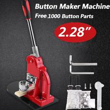"1Pc 2.28"" Badge Punch Press Maker Machine W/1000 Circle Button Parts"