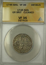 1745 Great Britain Silver Shilling Coin George II ANACS VF-35 Details Cleaned