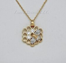 """Honeycomb Bee Charm Necklace Pendant, 16"""", Gold and Cubic Zirconia Jewelry"""