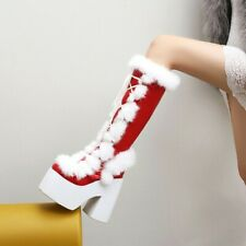 Fashion Women's Platfrom Block Heels Knee High Boots real warm Fur Lining Shoes_